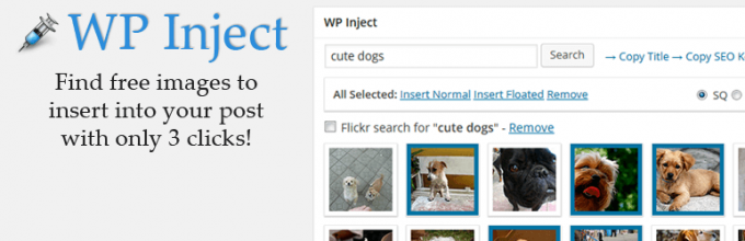 WP-Inject adds public domain photos to a post in just 3 clicks.