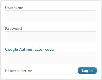 Screenshot of a WordPress login using the Google Authenicator plugin.