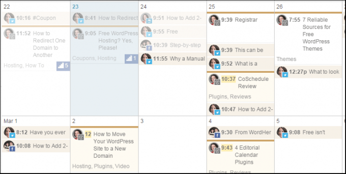CoSchedule also provides a drag-and-drop calendar with all the same functions for creating and scheduling social media.