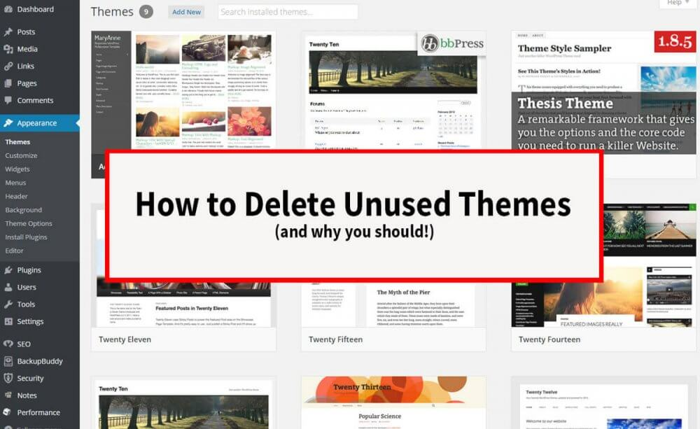 How Delete Unused Themes