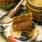 Honey In Pot Honeycomb And St