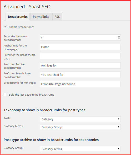 How to configure Yoast SEO breadcrumbs