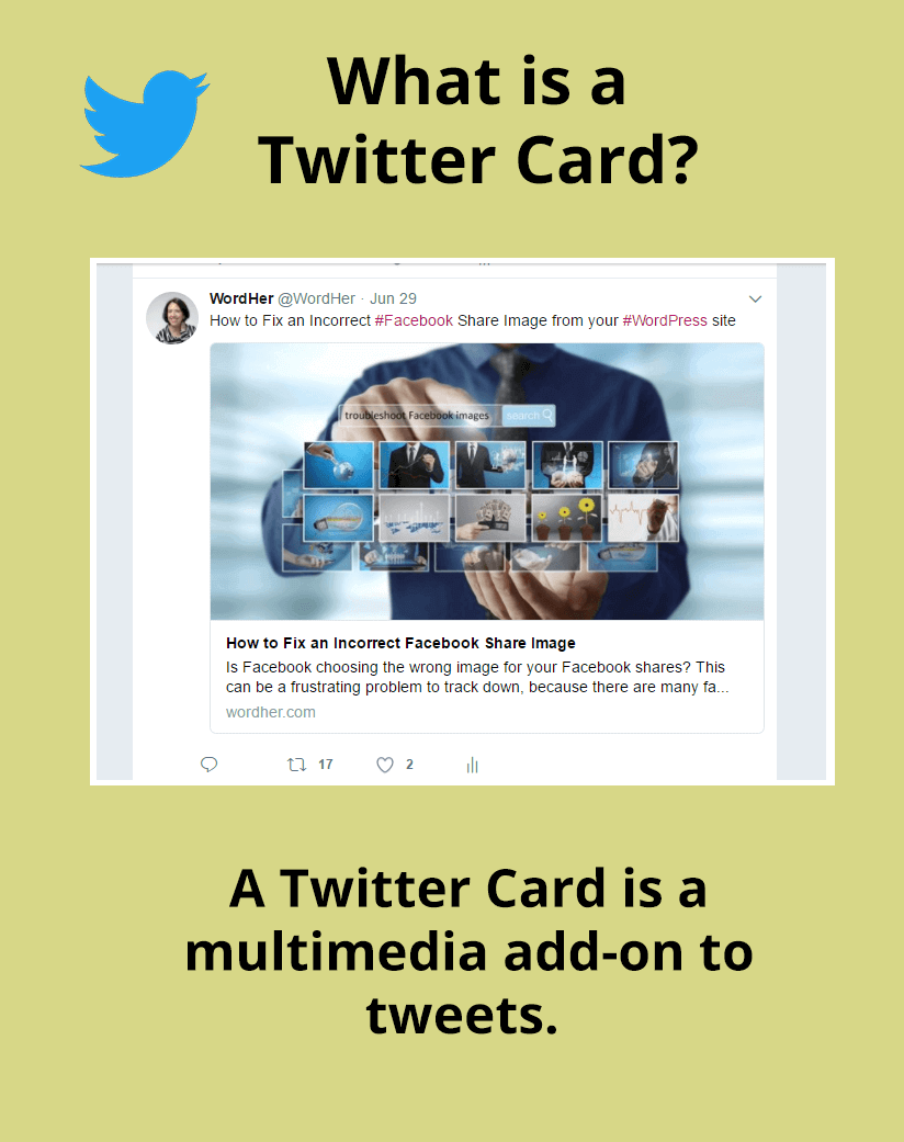A #Twitter Card is multimedia tweet add-on if you use a